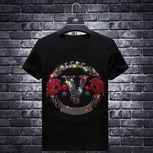 2021 Letter Rhinestones T Shirts Men Summer Clothes Fashion Streetwear Modal Cotton Short Sleeve O Neck T-shirts Plus Size 7XL