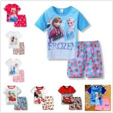 2Pcs/set Summer Cartoon Cars Frozen Anna Elsa Children Clothing Set Kid Casual Baby Boy Sport Suits Girl Cotton Spiderman Outfit
