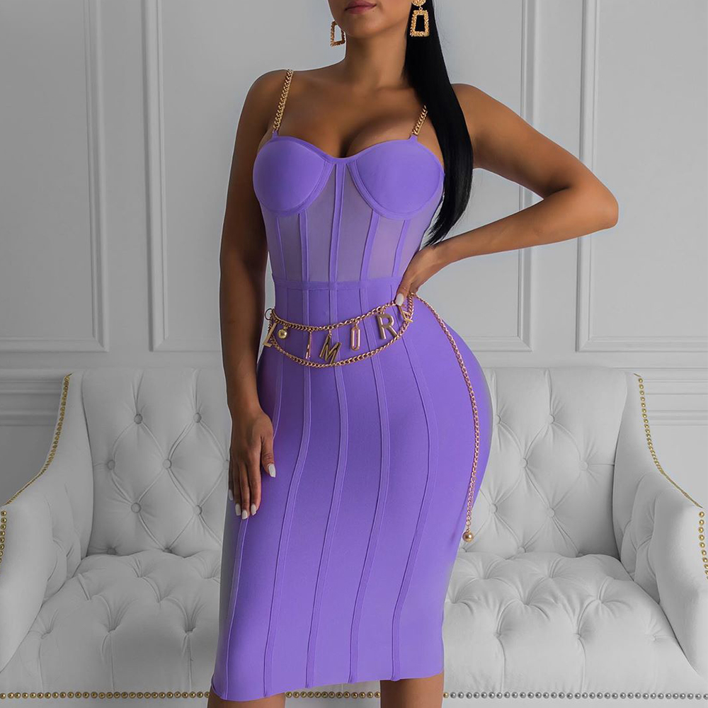 Ocstrade Vestido Bandage Midi Dress Autumn Winter 2019 New Women Neon Purple Bandage Dress Sleeveless Bodycon Club Party Dress