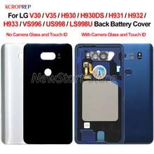 Задняя стеклянная крышка батарейного отпечатка пальца для LG V30, задняя крышка корпуса для LG V35 H930 H931 H932 H933 VS996, крышка корпуса