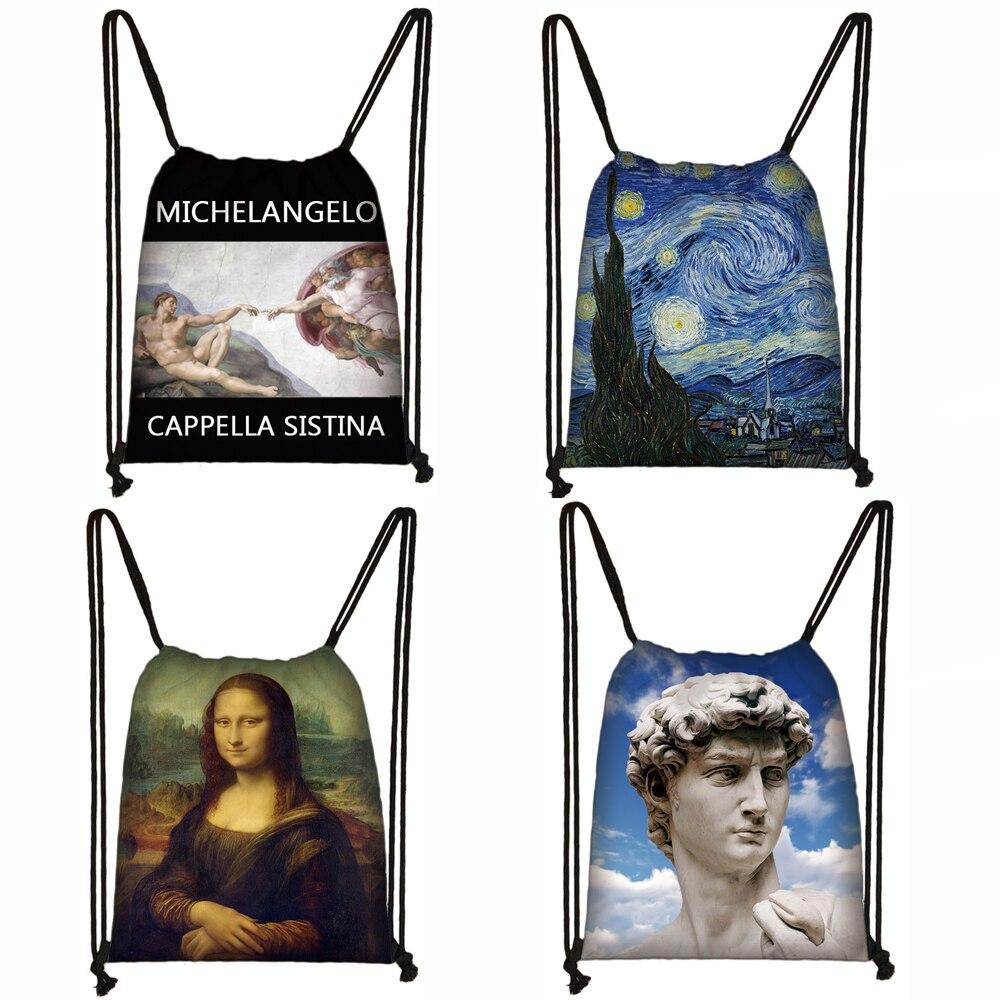 Van Gogh / Michelangelo / Da Vinci Art Print Drawstring Bag Starry Night / David / Mona Lisa Storage Bags Women Men Backpack