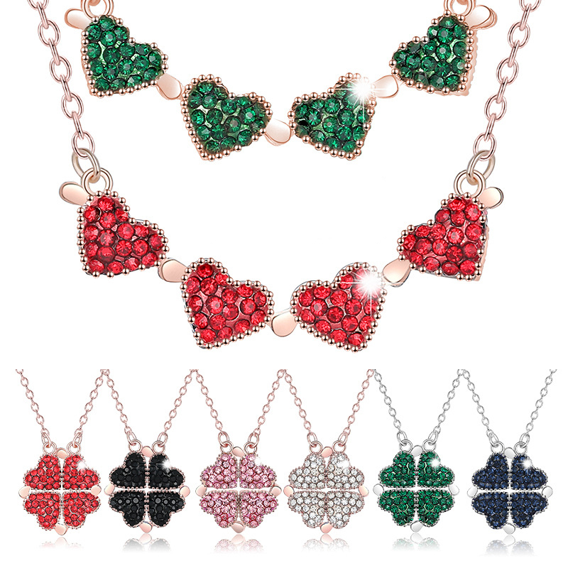 New Trendy Alloy Two In One Double Sided Four Heart Clover Necklace Crystal Lucky Grass Collar Fashion Women Girl Clavicle Choke 1