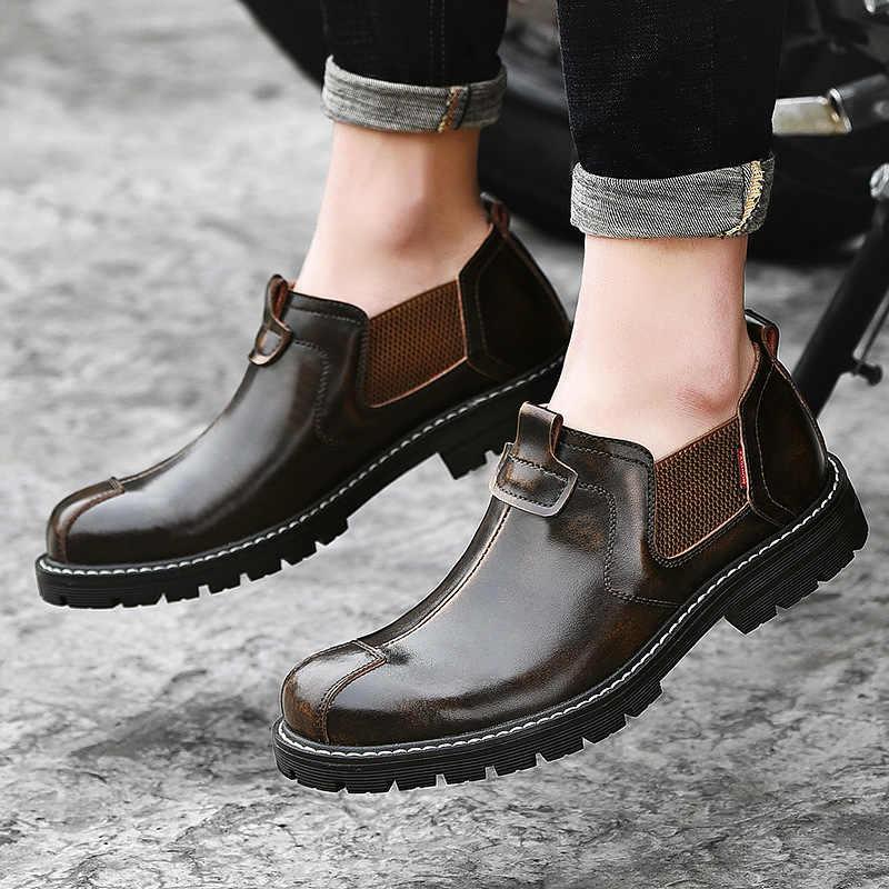 ของแท้หนังเชลซีรองเท้ารองเท้าหนังผู้ชาย 2019 รองเท้าฤดูใบไม้ร่วงต้นฤดูใบไม้ร่วงรองเท้าเดียวรองเท้าหนารองเท้าผู้ชาย KA1760