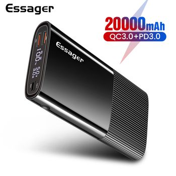Essager Power Bank 20000mAh USB Type C PD QC 3.0 Powerbank Portable External Battery Pack Charger For Xiaomi 20000 mAh Poverbank