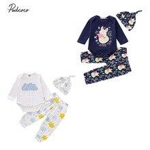 Newborn Baby Girls Clothes Cute Cartoon Cloud Long Sleeve Romper Tops + Pants + Hat Autumn Winter Infant Baby Boy Girl Outfits недорого