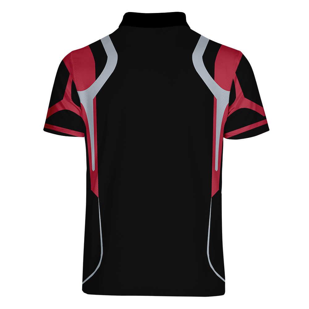 WAMNI 3D ポロシャツスポーツルースストライプカジュアル赤 3D プリントおかしいユニセックス男性ストリート幾何ポロシャツトラックスーツ