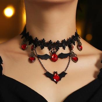 Joyería gótica collar de murciélago rojo collar de noche de brujas gargantilla de encaje Collar para mujeres pesadilla antes de Navidad collar en capas negras 2020