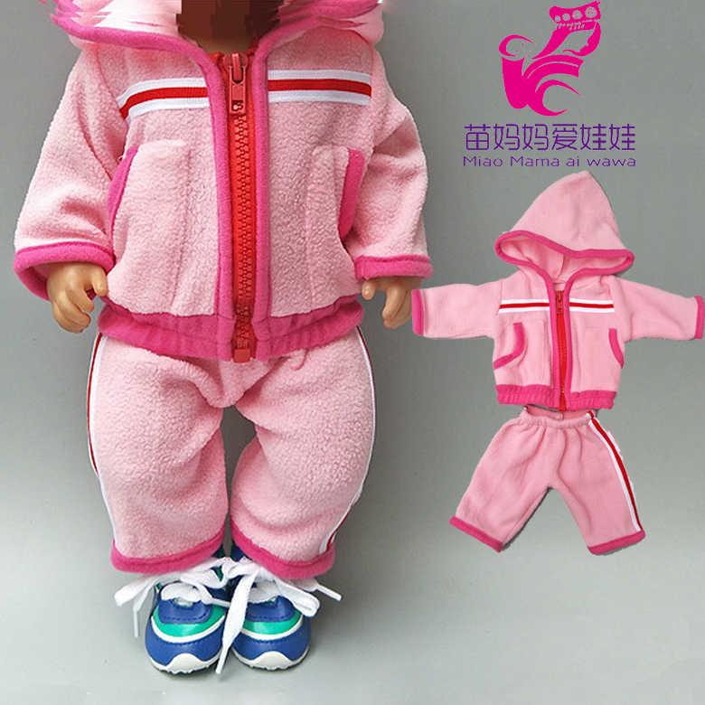 """フィット 43 センチメートルためのベビードールの服ダウンコートとタイトなパンツのための 18 """"女の子人形ジャケット子供人形を着用"""