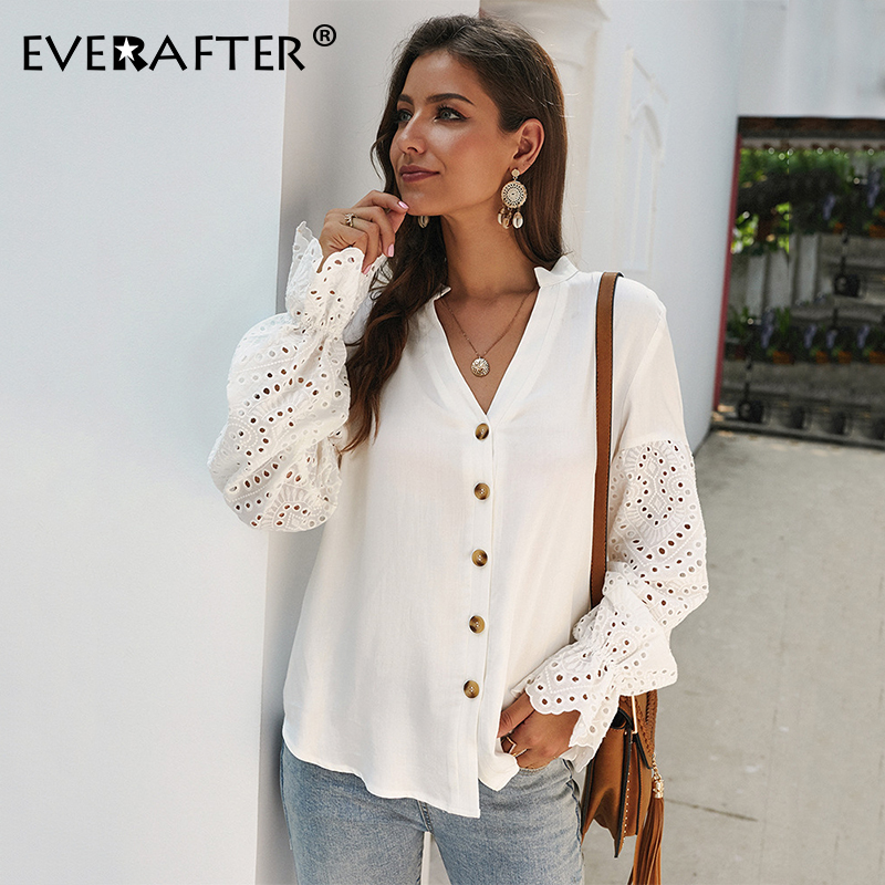EVERAFTER Women Blouse Long Sleeve White Cotton Hollow V Neck Loose Button Spliced Blouse Tops Autumn Elegant Office Lady Shirts