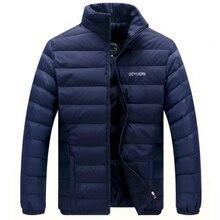 Ente Unten Jacke Männer Herbst Winter Warm Ständer Kragen Casual Unten Jacken Mens Lightweight Einfarbig Outwear Mäntel 4XL Kleidung