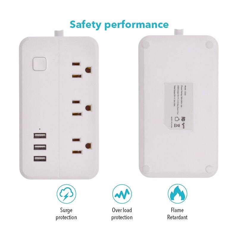 Tira de energia wifi 3usb inteligente eua plug interruptor sobrecarga protetor contra surtos 3 portas usb carregador google casa alexa 1.25m 10a wifi soquete - 2