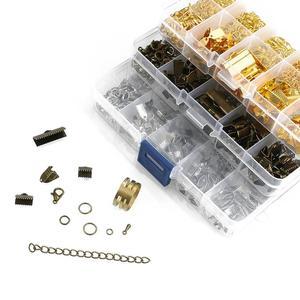 Комплект металлических деталей для ювелирных изделий, кольцо, застежка-лобстер, цепочка, набор булавок для изготовления ювелирных изделий, «сделай сам», бисероплетение, браслет, ожерелье, серьги