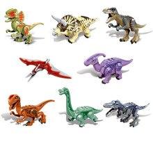 Nuevo Parque mundial Jurásico dinosaurio Animal Baryonyx Triceratop Tyrannosaurus Rex figuras bloques de construcción de juguete para regalos de niños