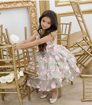 Pageant Baby Girl Princess Dress Kids Tutu Tulle Backless Party Costume Ball Gown Girls Formal Dresses High Quality