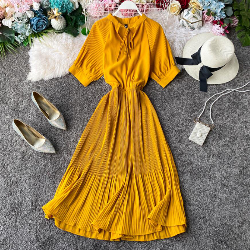 Women Solid Color Sweet Summer Dress 2020 New Arrival Yellow Bow Short Sleeve Long Dress Ruffles A-line High Waist Dress Vestido