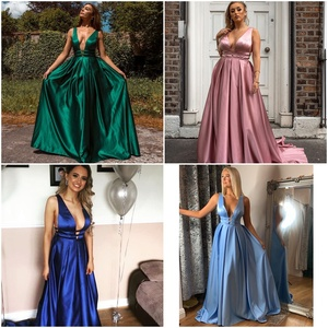 Image 4 - Sexy Red Evening Dresses V Neck Backless Satin Prom Dresses Long Elegant Evening Gown Robe De Soiree Christmas Party Dress Plus