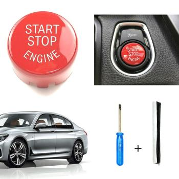 Red Start Stop Engine Switch Button Cover Car Accessory For BMW F20 F30 F10 F01 F25 F26 image