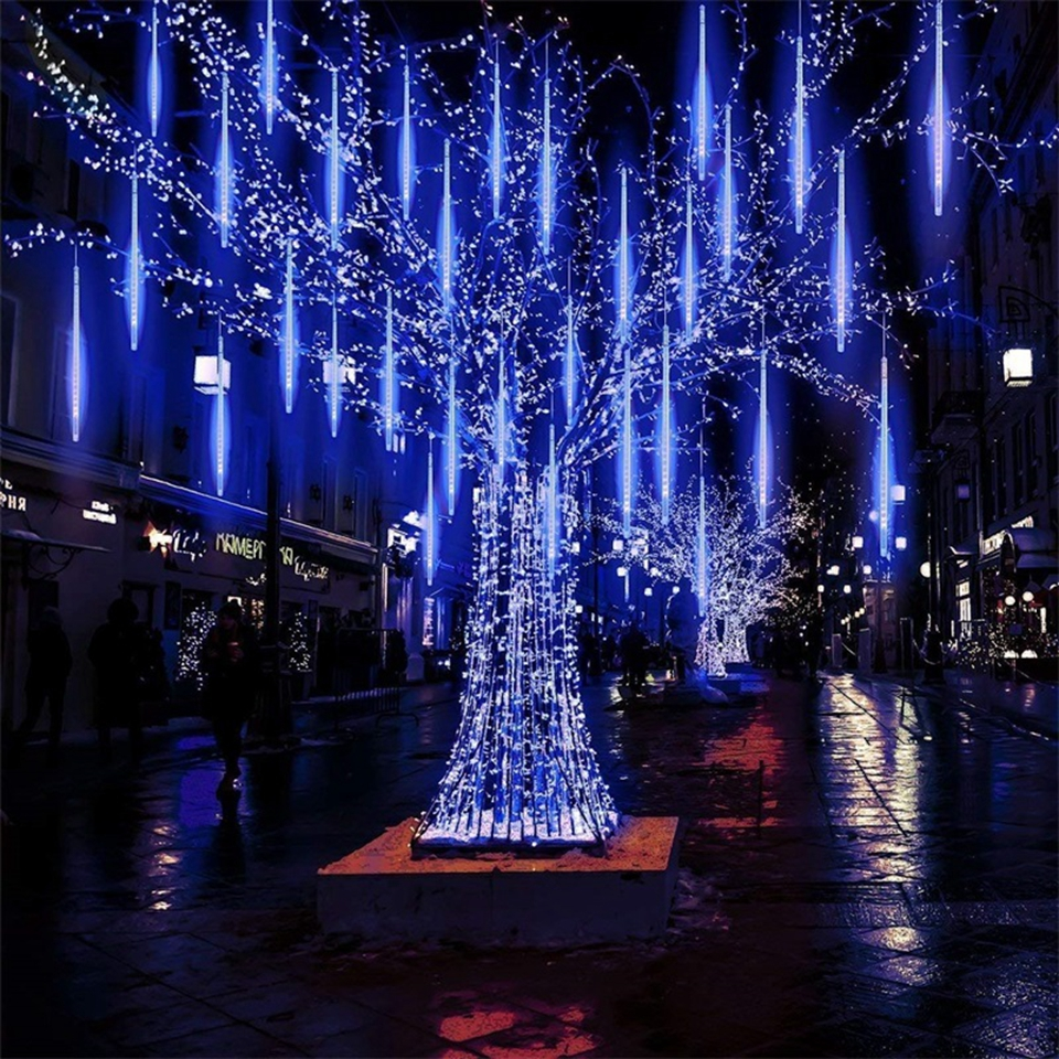 New Year 30/50cm Outdoor Meteor Shower Rain 8 Tubes LED String Lights Waterproof For Tree Christmas Wedding Party Decoration