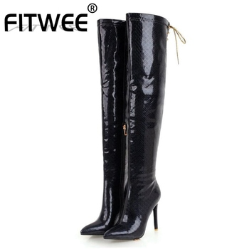 FITWEE Plus Size 32-47 Women Knee High Boots Quality Winter Fur Warm Shoes Women Snakeskin Pattern Sexy Thin High Heels Boots