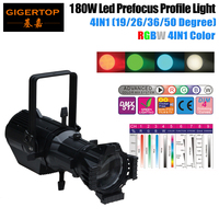 Freeshipping 180W RGBW 4IN1 Kleur Led Profiel Licht LCD Display Gobo Plaat 3 XLR DMX IN/OUT Con 4 selecteerbare Dimmen Curve