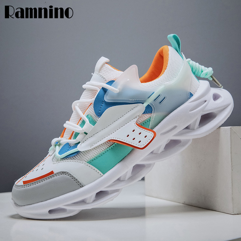Ramnino Men Lightweight Blade Running Shoes Shockproo Breathable Male Sneakers Height Increase Walking Gym Shoes Man Mesh