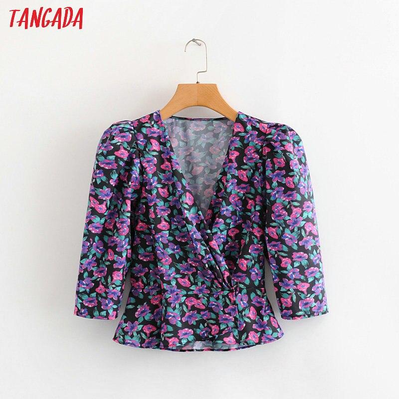 Tangada Women French Style Floral Print Blouse Three Quarter Sleeve Chic Female Stretch Waist Shirt Blusas Femininas 2L03