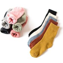 5pair/lot New cotton socks in winter women warm solid Warm