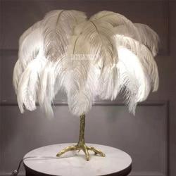 MS1681 romantyczny salon wielekolorowy strusie pióra lampa stołowa sypialnia Led Light Copper feather biurko lampka do czytania
