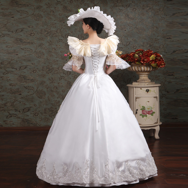 Noble Victorian Evening southern Belle Women Evening Dress Royal Court Costume Dresses Applique Flower Prom Party Gowns in Evening Dresses from Weddings Events