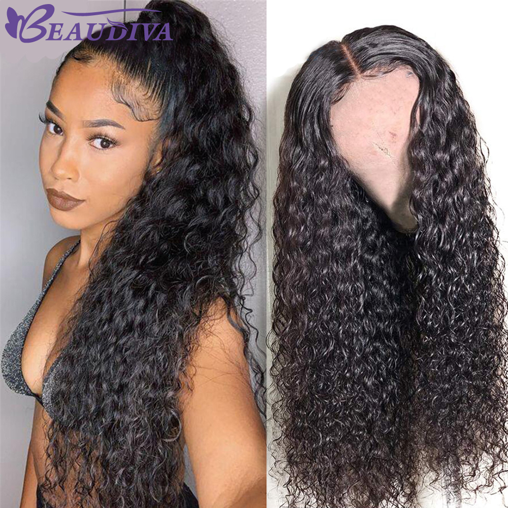 Mongolian Water Wave Lace Front Human Hair Wigs Pre Plucked With Baby Hair Glueless Wig 13x4 Water Curly Human Hair Wigs French