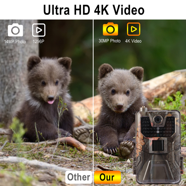 4K 30FPS Live Video Hunting Trail Camera 4G MMS 30MP Infrared Wildlife Surveillance Camera Night Vision Photo Trap Cloud Service 4