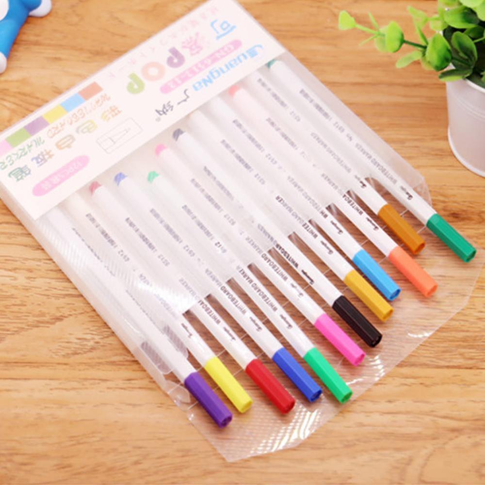 12 Colors White Board Maker Pen Whiteboard Marker Liquid Chalk Erasable Glass Ceramics Maker Pen Easy Erasing