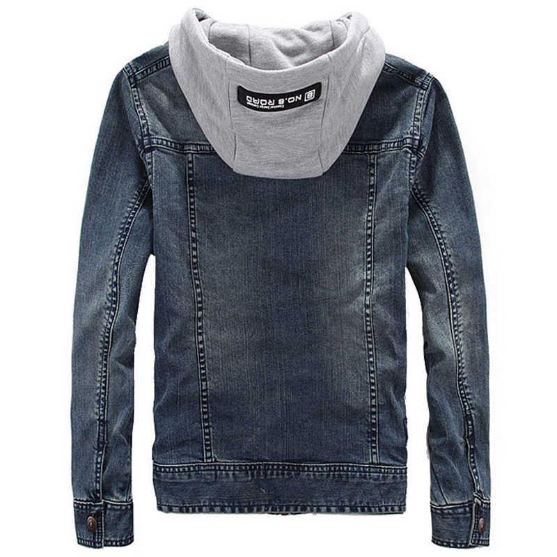 Wiosna moda dżinsowe z kapturem kurtki dla mężczyzn Plus rozmiar 3XL Vintage męskie płaszcze dżinsowe główna ulica nowości męskie płaszcze A504