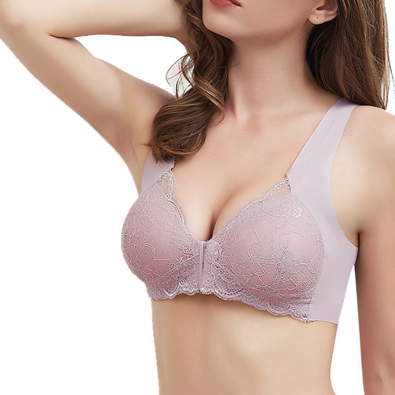 Female Vest Front Hook Push Up Bra Full Cup Sexy Lace Bras Women Bralette Plus Size Seamless Wireless Gather Brassiere