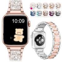 Schmuck kette riemen Für Apple uhr band 40mm 44mm 42mm 38mm Schleife armband diamant handgelenk armband für iWatch serie 6 5 4 3 SE