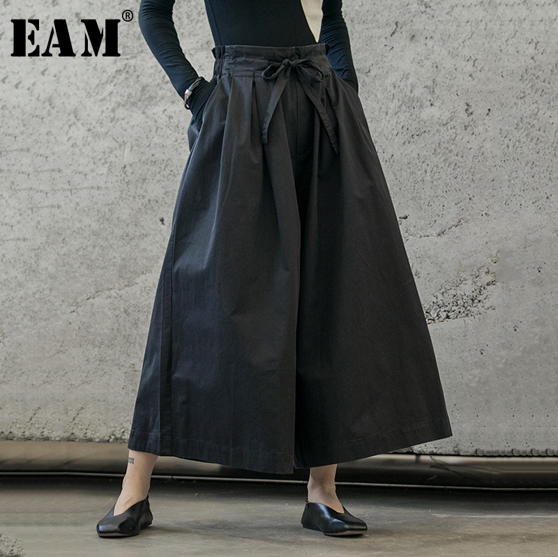 [EAM] High Elastic Waist Black Bow Bandage Trousers New Loose Fit Wide Leg Pants Women Fashion Tide Spring Autumn 2019 1B208