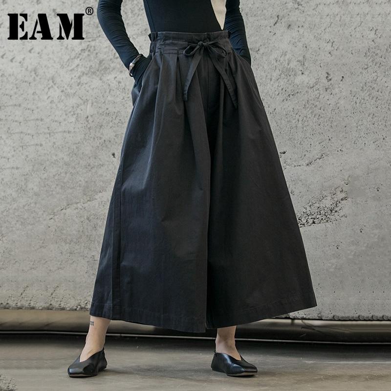 [EAM] High Elastic Waist Black Bow Bandage Trousers New Loose Fit Wide Leg Pants Women Fashion Tide Spring Autumn 2020 1B208