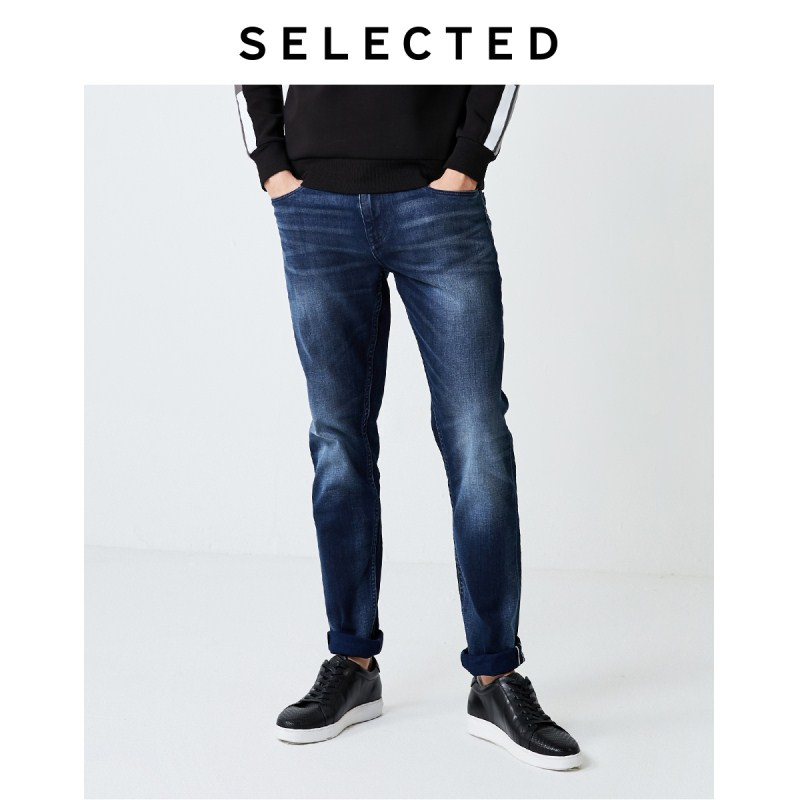SELECTED Men's Autumn Slightly Stretch Cotton Fading Tapered Jeans I|419332517