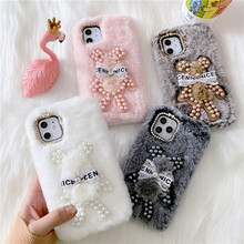 Pearl Diamond Bear Fur Plush Phone Case For iPhone 12 Mini 11 Pro Max 7 8 Plus X XR XS SE 2020 Rabbit Bunny Fluffy Soft Cover
