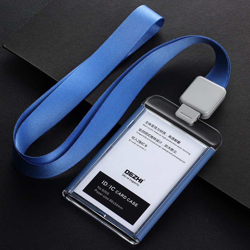 Купить с кэшбэком DEZHI-Fashion style Acrylic clear ID IC Card Case lowest price of work card with lanyard,can custom the LOGO,OEM!