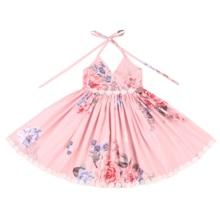 Flofallzique/Хлопковое платье с цветочным рисунком для девочек с кружевной отделкой; винтажная детская одежда с цветочным рисунком; вечерние платья для свадьбы; уличная одежда