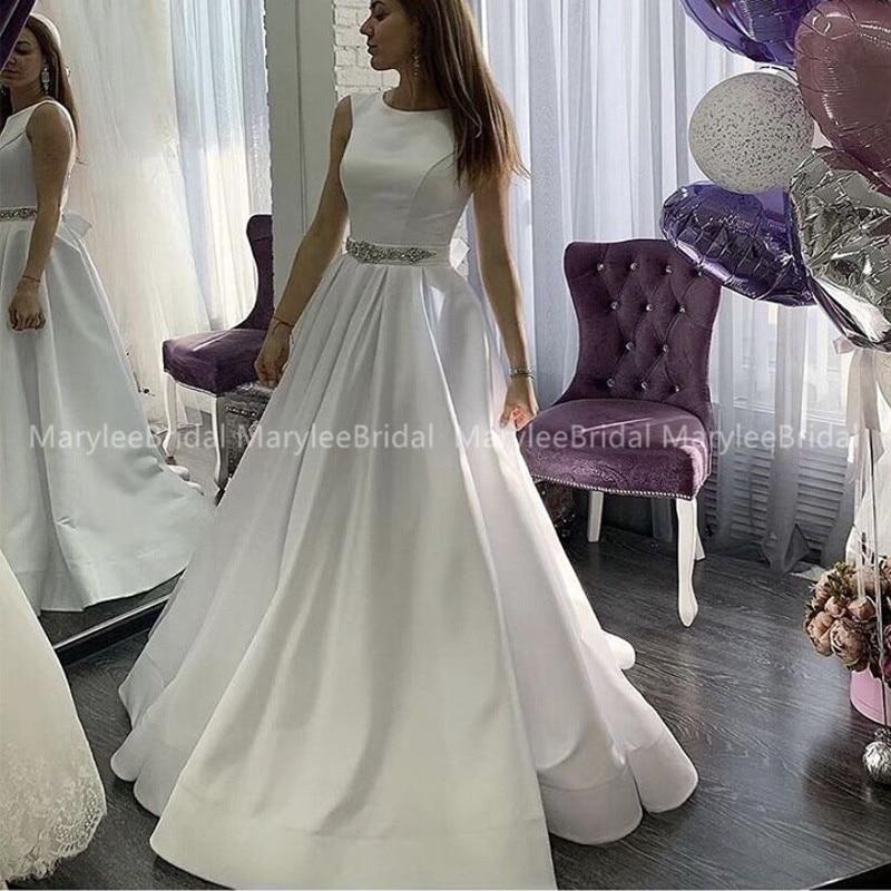 Romantic A-Line Wedding Dresses 2019 O-Neck White Ivory Satin Robe De Mariee Rhinestones Sashe Princess Bridal Dresses Customize