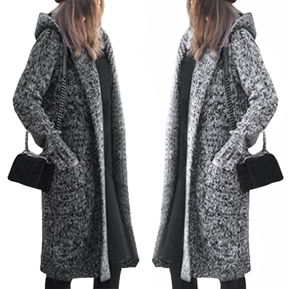 Womens Long Knited Cardigan Outcoat New Female Casual Hooded Swatater Open Front Winter Warm Sweaters Harajuku Solid Streetwears