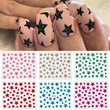 Nail Stickers 3D Nail Slider Stars Stickers Glitter Shiny Decoration Decal DIY Transfer Adhesive Colorful Nail Art Tips Manicure 20pcs lot nail art stickers diy 3d nail tips design water transfer foil glitter decals manicure nail decoration tools stickers