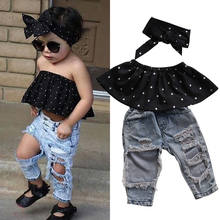 Baby Clothing Summer Fashion Toddler Baby Girl Cotton Clothes Sleeveless 3-piece Top + Hole Jeans Set Girl Casual Wear(China)