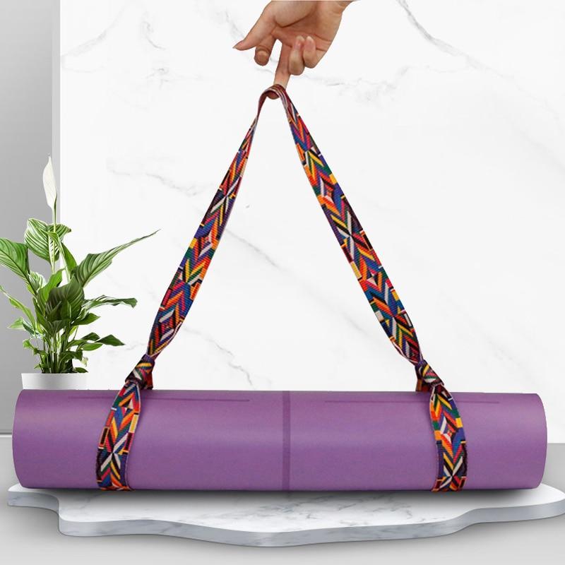Cotton Durable Yoga Belt Adjustable Sports Sling Shoulder Yoga Mat Strap Belt Exercise Carrying Waist Shoulder Carry Straps Yoga Belts     - title=