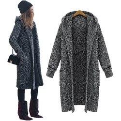 LASPERAL Harajuku Cardigan largo señoras 2019 otoño Casual tejer suéter mujeres chaqueta abrigo grande invierno suéteres con capucha jerseys