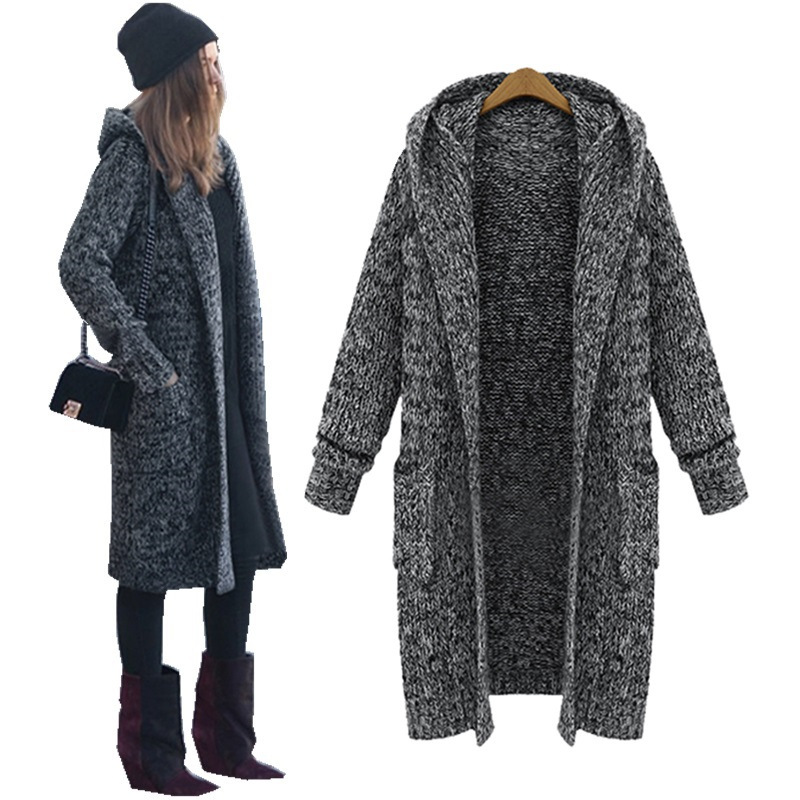 LASPERAL Harajuku Long Cardigan Ladies 2019 Fall Casual Knitting Sweater Women Large Coat Jacket Winter Hooded Sweaters Jumpers