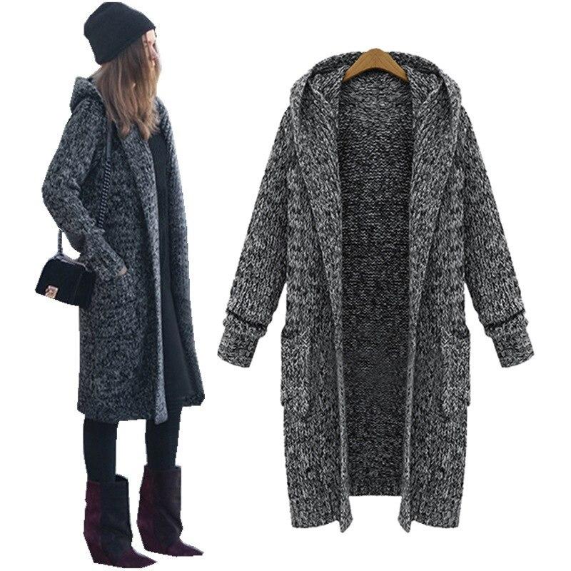 Lasperal 하라주쿠 롱 가디건 2019 가을 캐주얼 뜨개질 스웨터 여성 대형 코트 자켓 겨울 후드 스웨터 점퍼