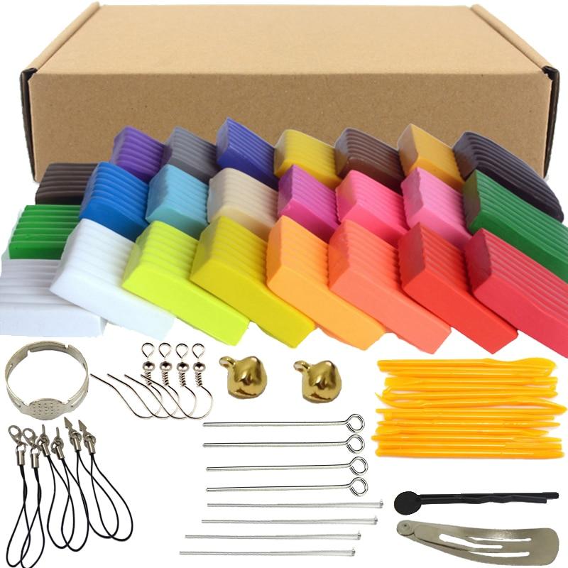 24 cores x20g forno cozimento fimo polímero argila modelagem argila floam lodo brinquedos caixa de lodo fofo luz plasticina para crianças diy